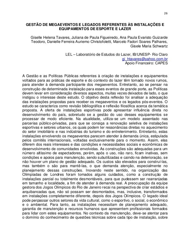 26  GESTÃO DE MEGAEVENTOS E LEGADOS REFERENTES ÀS INSTALAÇÕES E                EQUIPAMENTOS DE ESPORTE E LAZER     Giselle...