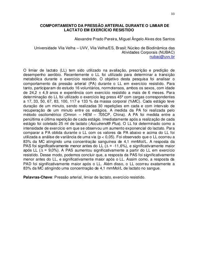 33          COMPORTAMENTO DA PRESSÃO ARTERIAL DURANTE O LIMIAR DE                  LACTATO EM EXERCÍCIO RESISTIDO         ...