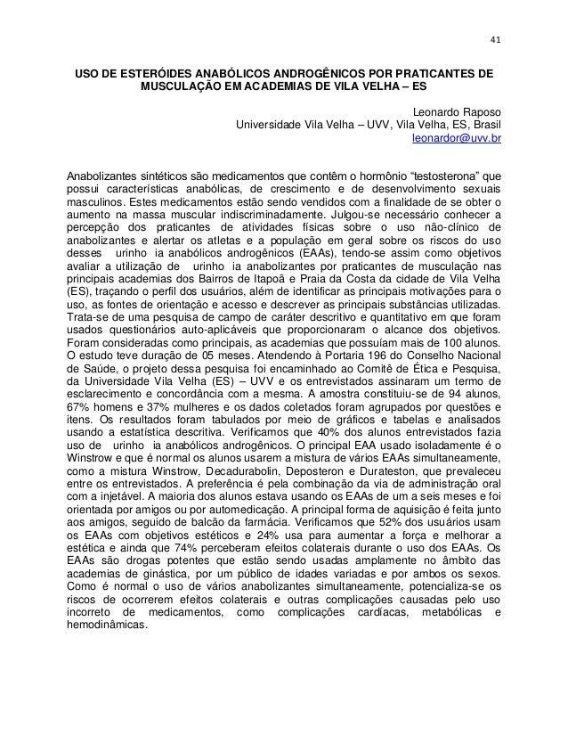 41 USO DE ESTERÓIDES ANABÓLICOS ANDROGÊNICOS POR PRATICANTES DE           MUSCULAÇÃO EM ACADEMIAS DE VILA VELHA – ES      ...