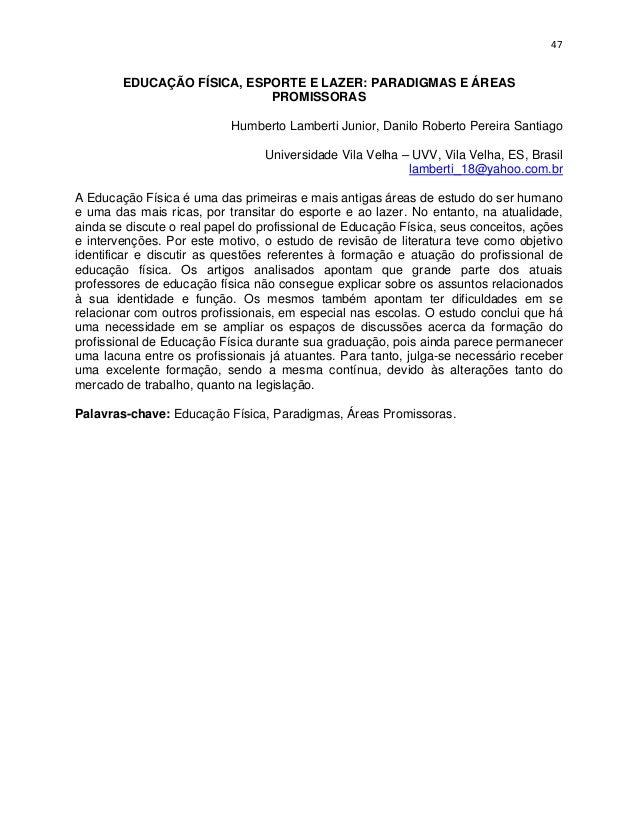 Anais do Congresso de Educação Física, Esporte e Lazer - CEFEL 2012