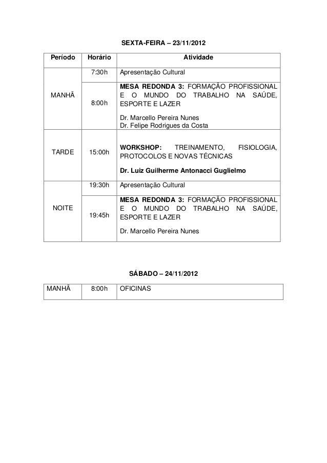 SEXTA-FEIRA – 23/11/2012Período   Horário                       Atividade           7:30h    Apresentação Cultural        ...