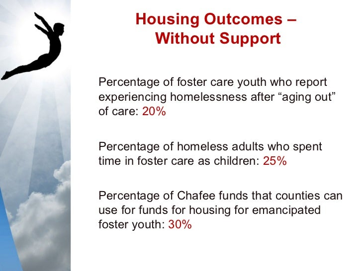 """essay on aging out of foster care Although the federal fostering connections to success and increasing adoptions act of 2008 gave states the option of raising the emancipation age (that is, the age that foster youth must leave or """"age out"""" of the foster system) from 18."""