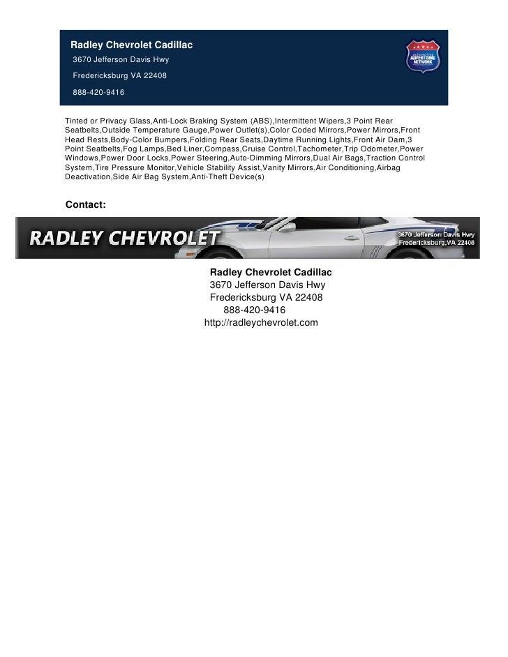 Radley Chevrolet Cadillac 3670 Jefferson Davis Hwy Fredericksburg VA ...