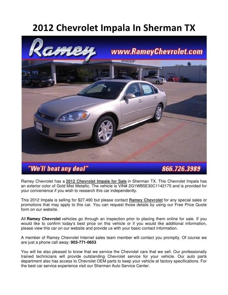 Ramey Chevrolet Sherman Tx >> 2012 Chevrolet Impala In Sherman Tx