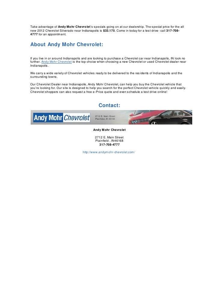 2012 Chevrolet Silverado Specials Available At Your Indianapolis Area
