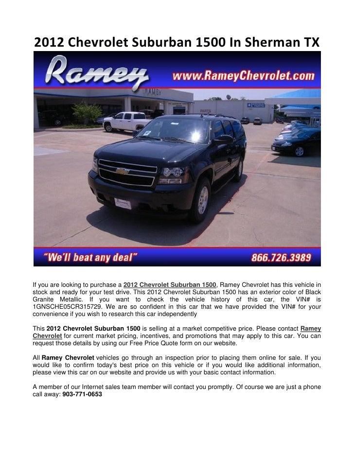 Ramey Chevrolet Sherman Tx >> 2012 Chevrolet Suburban 1500 In Sherman Tx