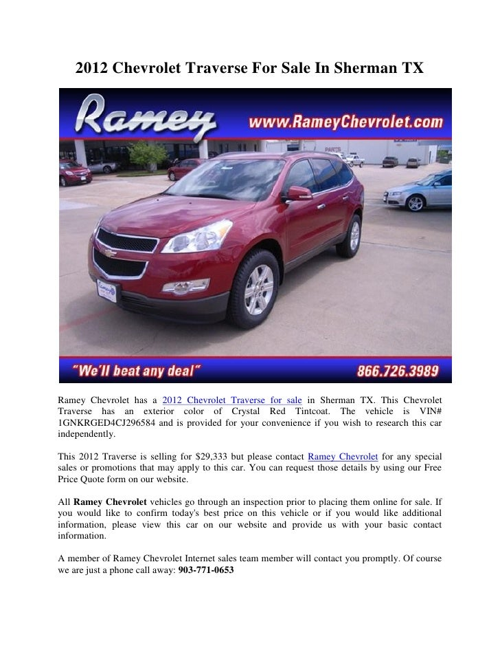 2012 Chevrolet Traverse For Sale In Sherman TXRamey Chevrolet Has A 2012  Chevrolet Traverse For Sale ...