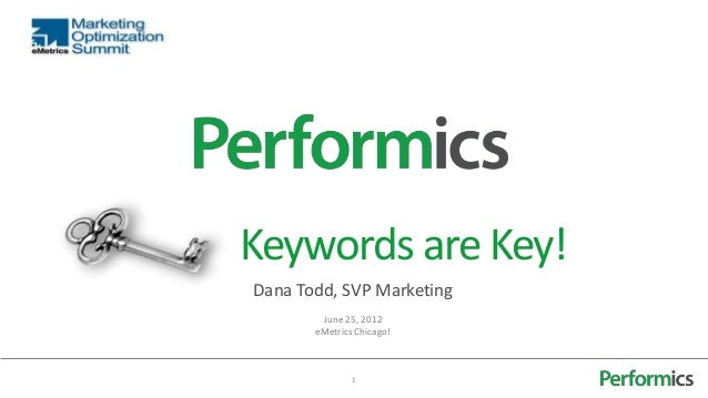Keywords are Key!Dana Todd, SVP Marketing        June 25, 2012       eMetrics Chicago!               1