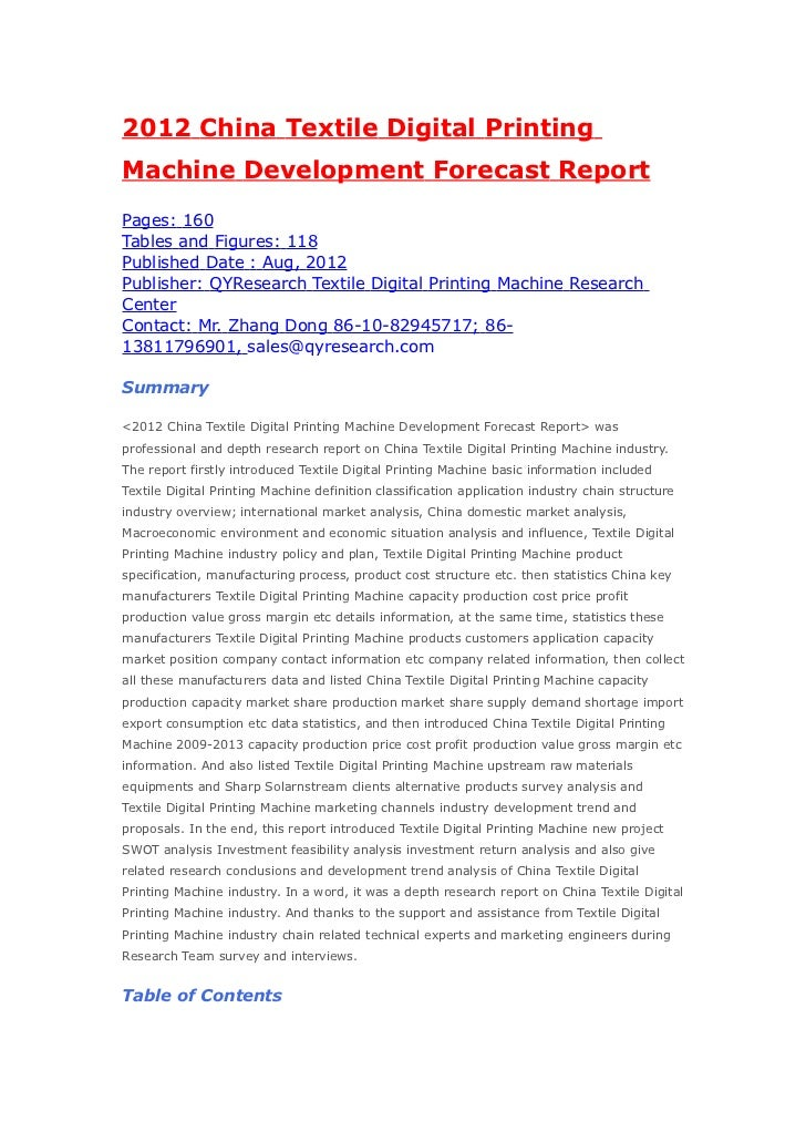 2012 China Textile Digital PrintingMachine Development Forecast ReportPages: 160Tables and Figures: 118Published Date : Au...