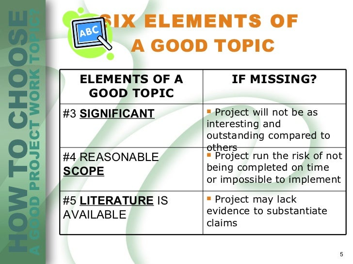choosing a research topic  5 six elements of a good topic