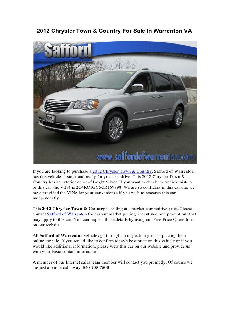 2012 Chrysler Town & Country For Sale In Warrenton VAIf you are looking to purchase a 2012 Chrysler Town & Country, Saffor...
