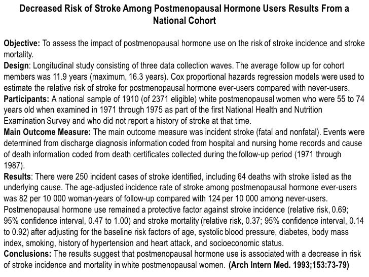 Decreased Risk of Stroke Among Postmenopausal Hormone Users Results From a                                  National Cohor...