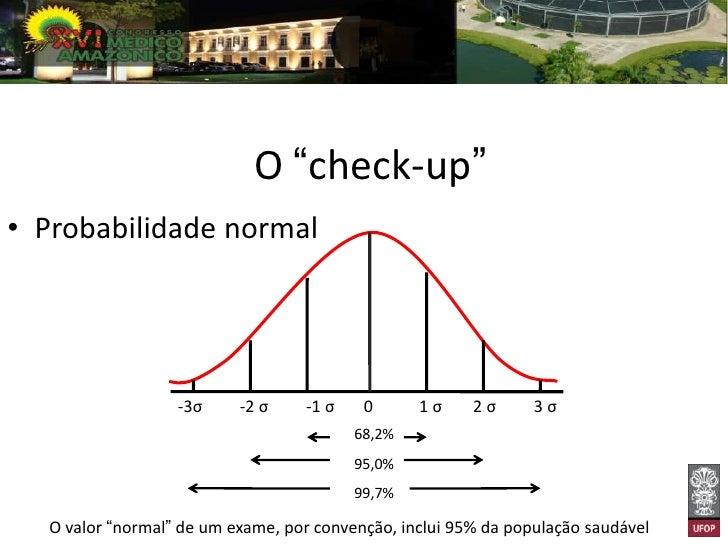 """O """"mito do check-up""""• Probabilidade de um achado anormal, em  uma pessoa saudável  = 1-p, ou seja, 1- 0,95 = 0,05"""
