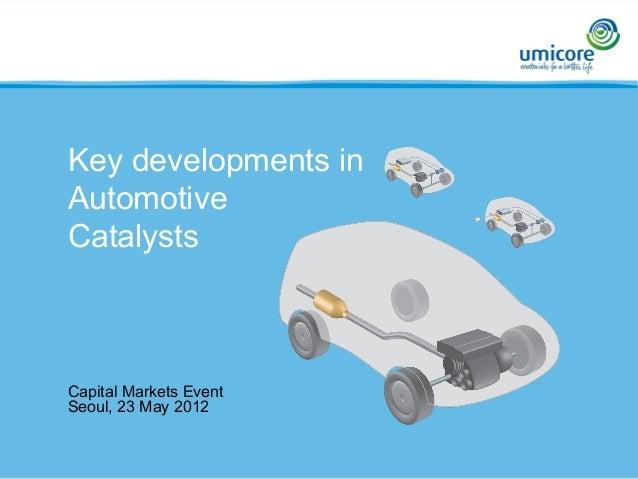 Capital Markets Event Seoul, 23 May 2012 Key developments in Automotive Catalysts