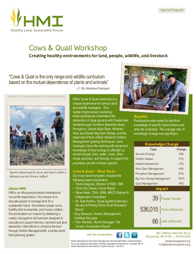 Special Program                 Cows & Quail Workshop                 Creating healthy environments for land, people, wild...