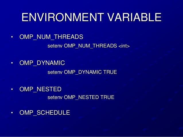 ENVIRONMENT VARIABLE•   OMP_NUM_THREADS          setenv OMP_NUM_THREADS <int>•   OMP_DYNAMIC          setenv OMP_DYNAMIC T...