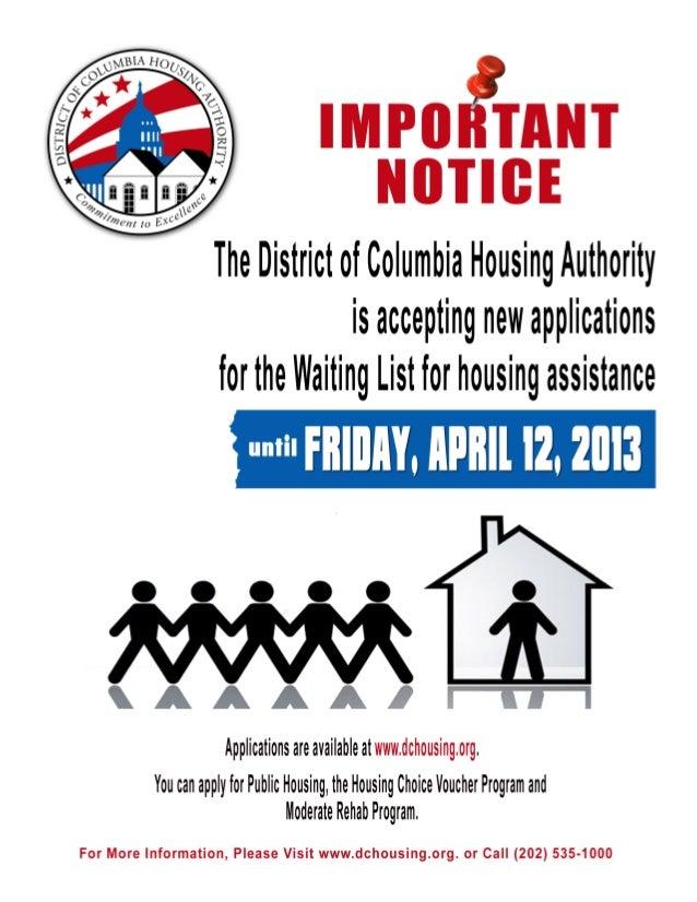 2012 DCHA waiting list closure notice