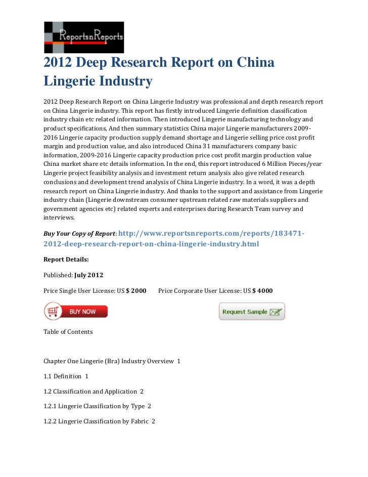 2012 Deep Research Report on ChinaLingerie Industry2012 Deep Research Report on China Lingerie Industry was professional a...