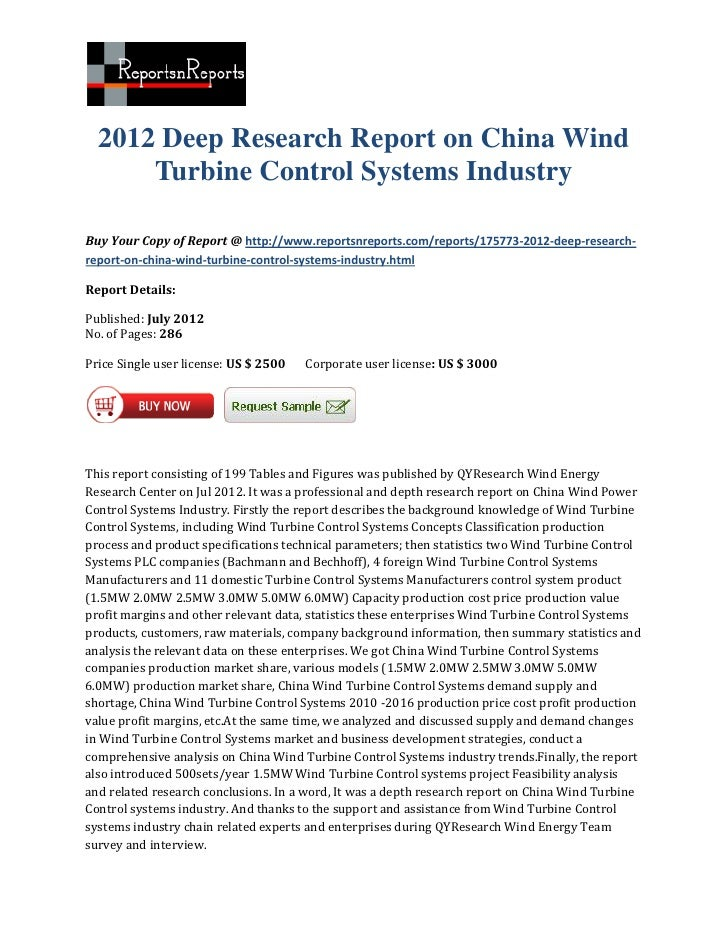 2012 Deep Research Report on China Wind      Turbine Control Systems IndustryBuy Your Copy of Report @ http://www.reportsn...