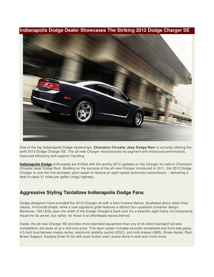 Dodge Dealership Indianapolis >> 2012 Dodge Charger Se In Indianapolis Available At Champion Chrysler
