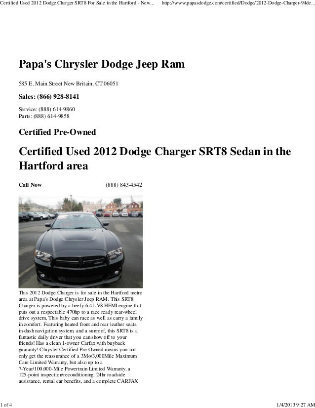 Certified Used 2012 Dodge Charger SRT8 For Sale in the Hartford - New...   http://www.papasdodge.com/certified/Dodge/2012-...