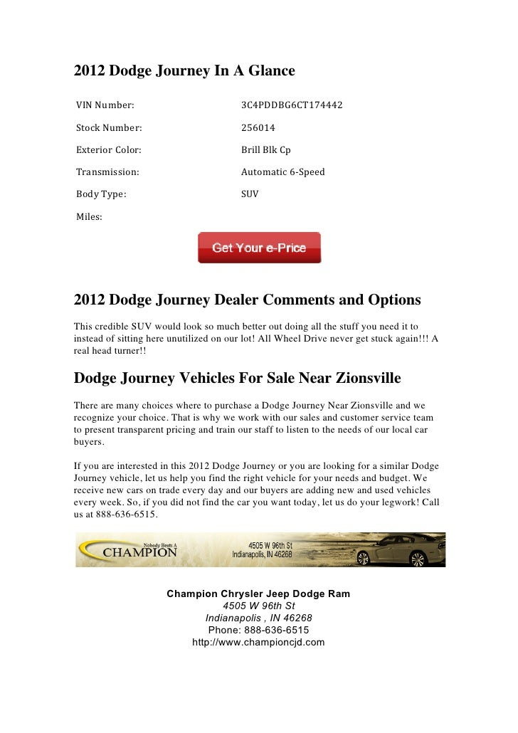 2012 Dodge Journey For Sale Near Zionsville IN Slide 2
