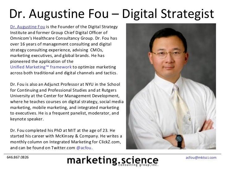 2012 Dr Augustine Fou Credentials