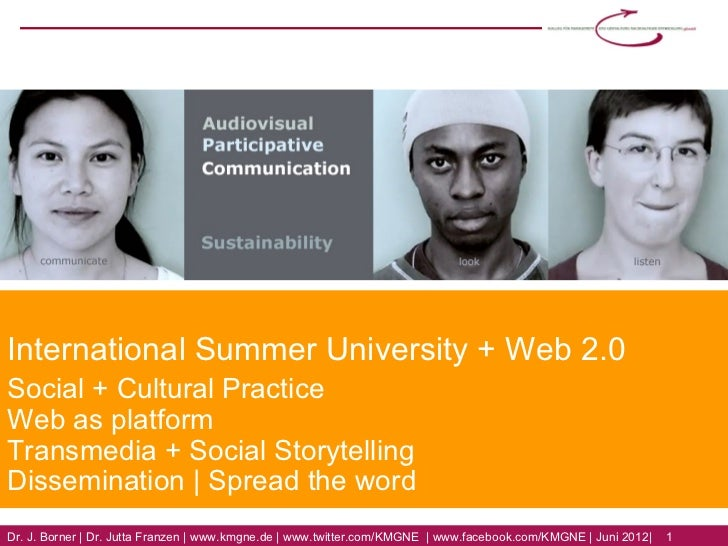 International Summer University + Web 2.0Social + Cultural PracticeWeb as platformTransmedia + Social StorytellingDissemin...