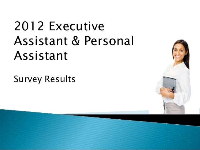 582 survey participants 2012 Executive Assistant & Personal Assistant Survey Results