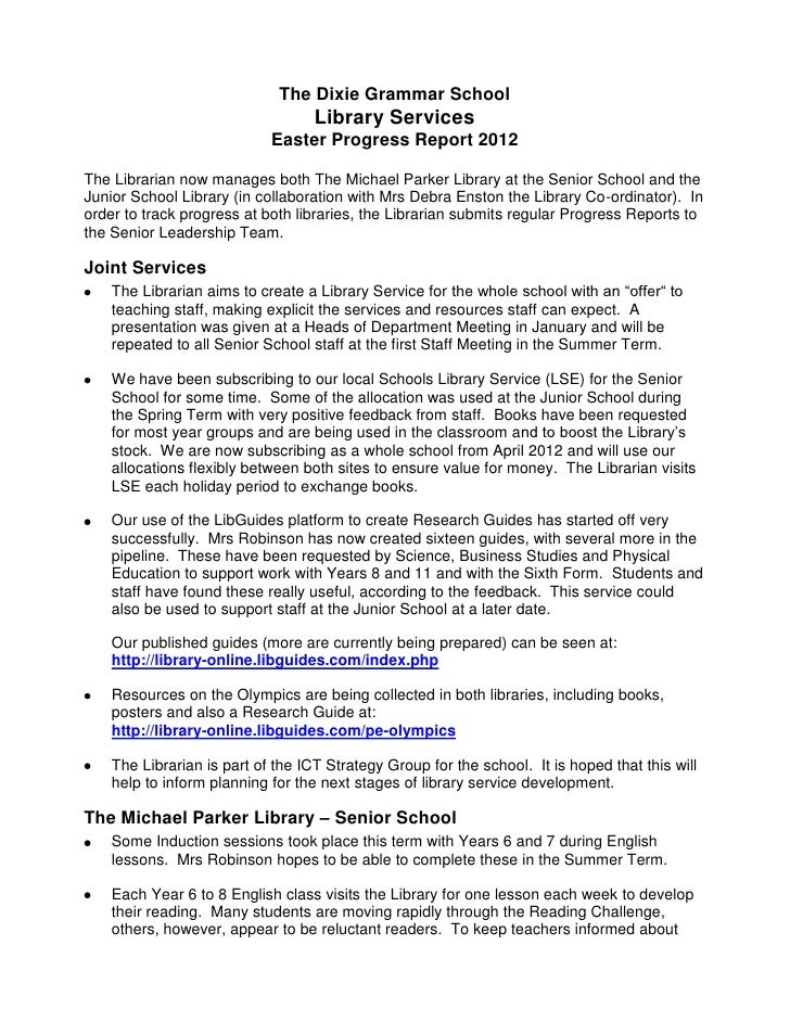 The Dixie Grammar School                                   Library Services                            Easter Progress Rep...