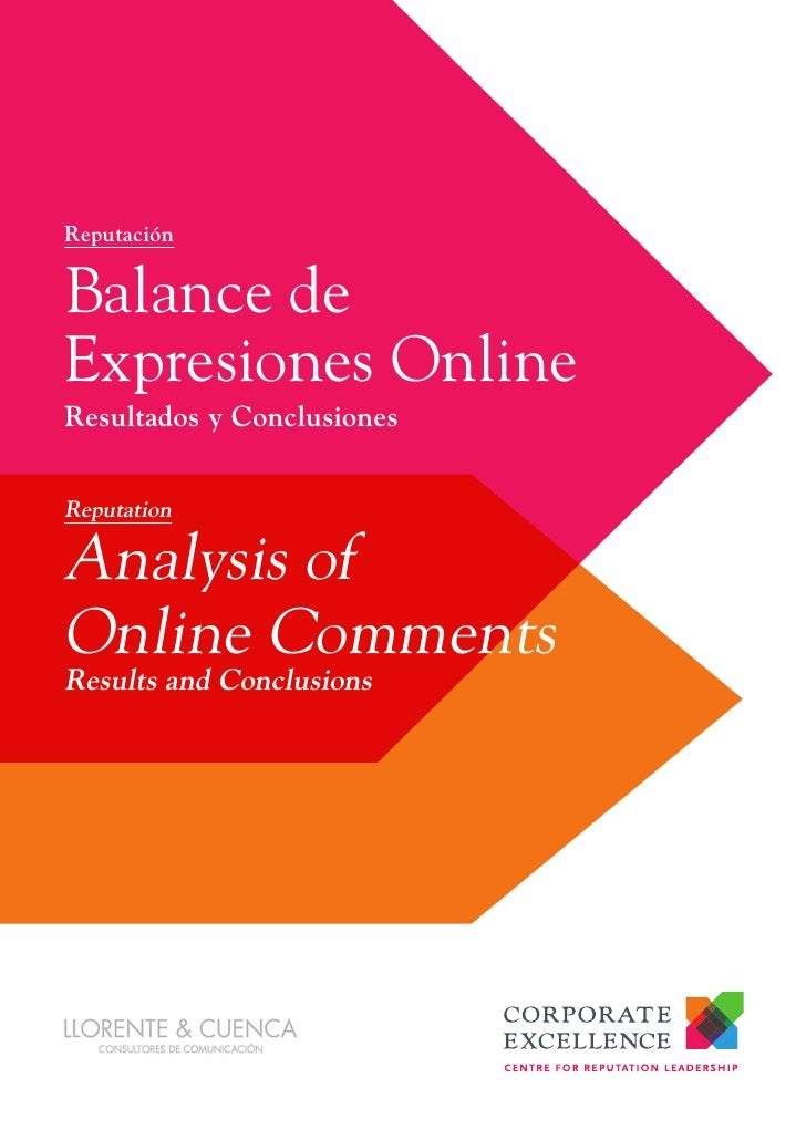 ReputaciónBalance deExpresiones OnlineResultados y ConclusionesReputationAnalysis ofOnline CommentsResults and Conclusions