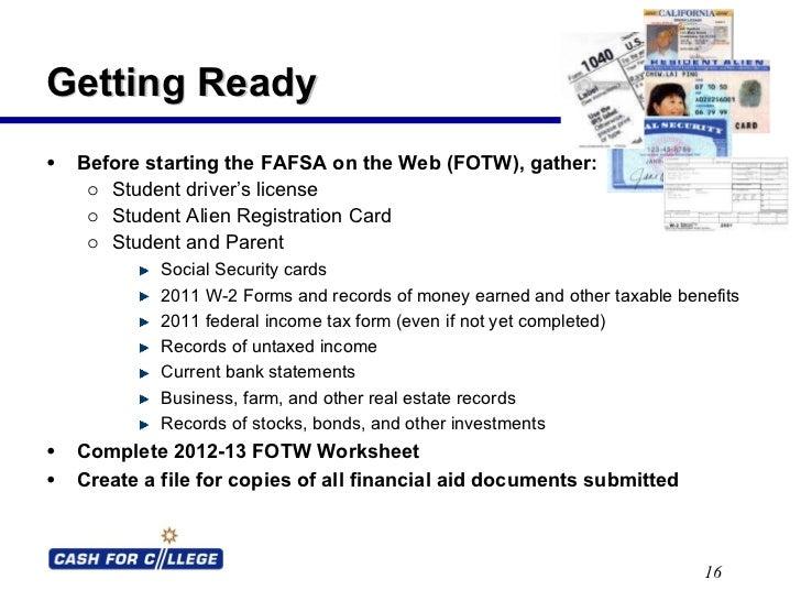 Fafsa On The Web Worksheet - Worksheet