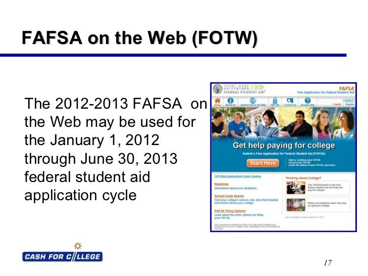 FAFSA On The Web Powerpoint Presentation – Fafsa on the Web Worksheet