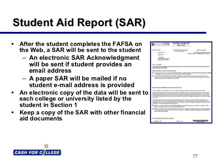fafsa student aid report