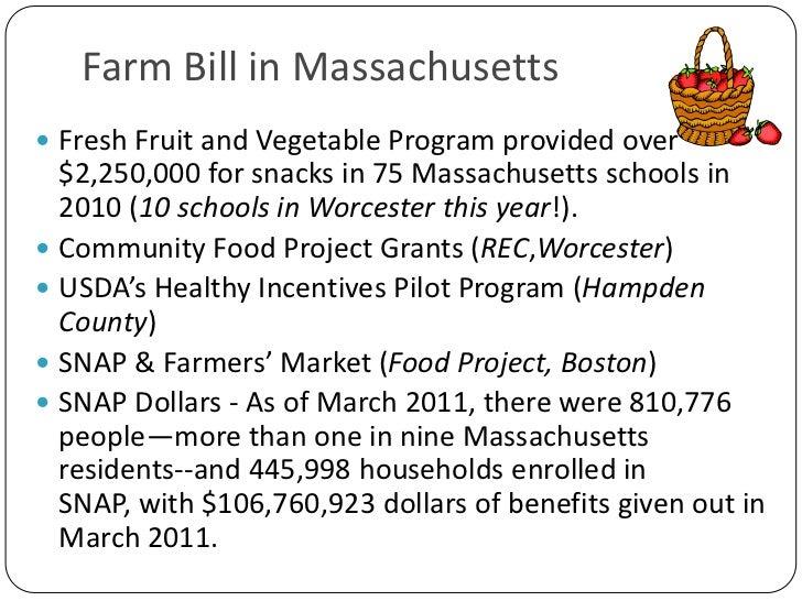 Farm Bill in Massachusetts<br />Fresh Fruit and Vegetable Program provided over $2,250,000 for snacks in 75 Massachusetts ...