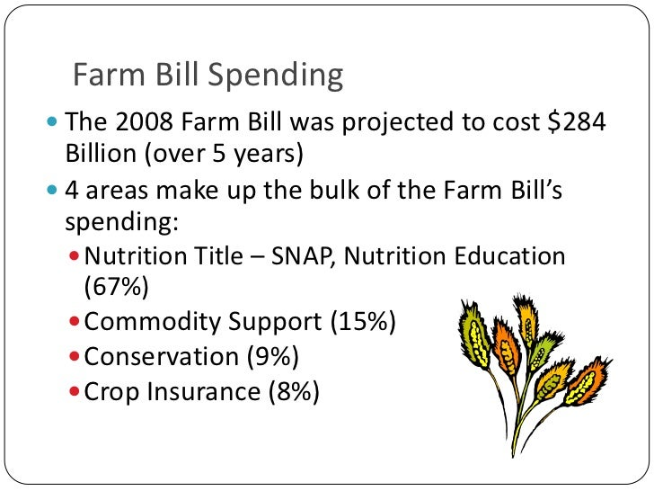 Farm Bill Spending<br />The 2008 Farm Bill was projected to cost $284 Billion (over 5 years)<br />4 areas make up the bulk...