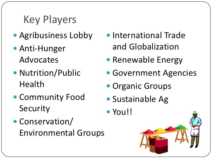 Key Players<br />Agribusiness Lobby<br />Anti-Hunger Advocates<br />Nutrition/Public Health<br />Community Food Security<b...