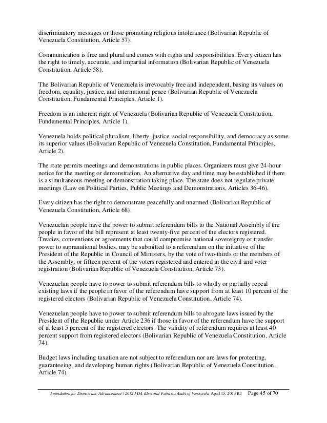 Venezuela--2012 FDA Global Electoral Fairness Audit Report (Revised April 15, 2013)