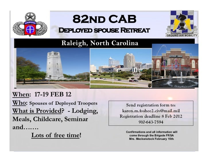 82nd CAB                 Deployed spouse Retreat                  Raleigh, North Carolina                               ht...