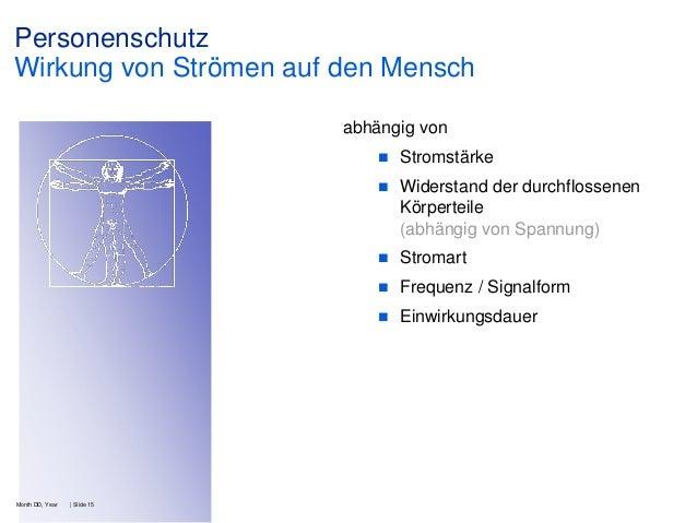 Personenschutz Wirkung von Strömen auf den Mensch abhängig von    Stromart    Frequenz / Signalform    | Slide 15  Wid...