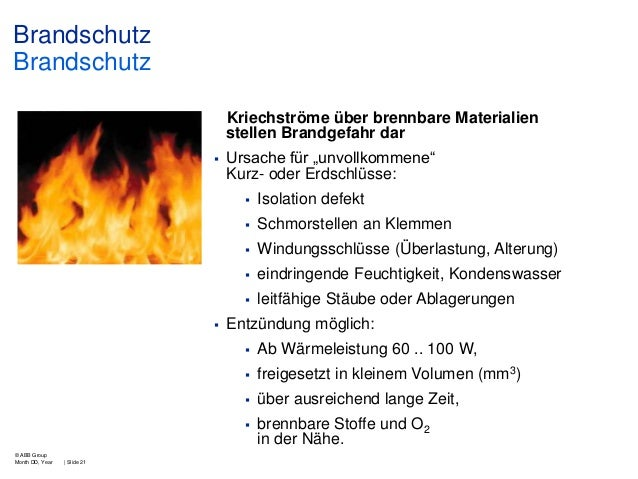 """Brandschutz Brandschutz Kriechströme über brennbare Materialien stellen Brandgefahr dar   Ursache für """"unvollkommene"""" Kur..."""