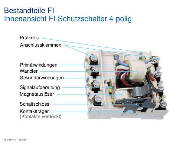 Bestandteile FI Innenansicht FI-Schutzschalter 4-polig Prüfkreis Anschlussklemmen  Primärwindungen Wandler Sekundärwindung...