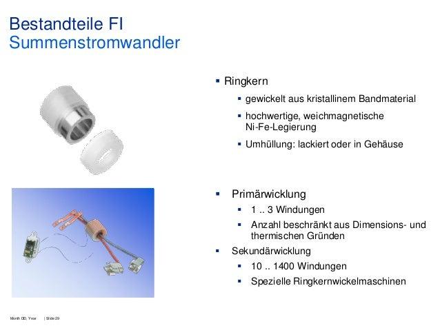 Bestandteile FI Summenstromwandler  Ringkern  gewickelt aus kristallinem Bandmaterial  hochwertige, weichmagnetische Ni...