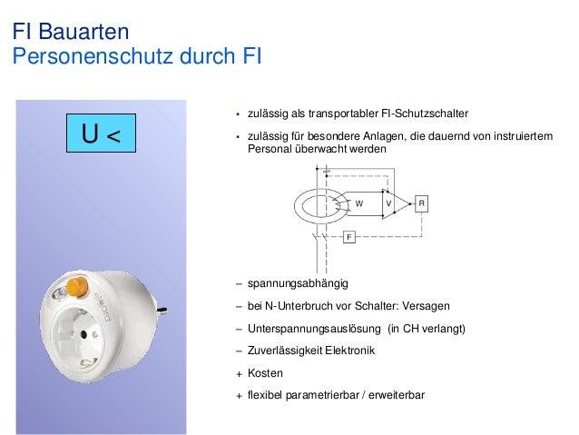 FI Bauarten Personenschutz durch FI   U<  zulässig als transportabler FI-Schutzschalter    zulässig für besondere Anlage...