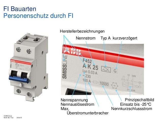 FI Bauarten Personenschutz durch FI Herstellerbezeichnungen Nennstrom  Typ A kurzverzögert  Prinzipschaltbild Nennspannung...