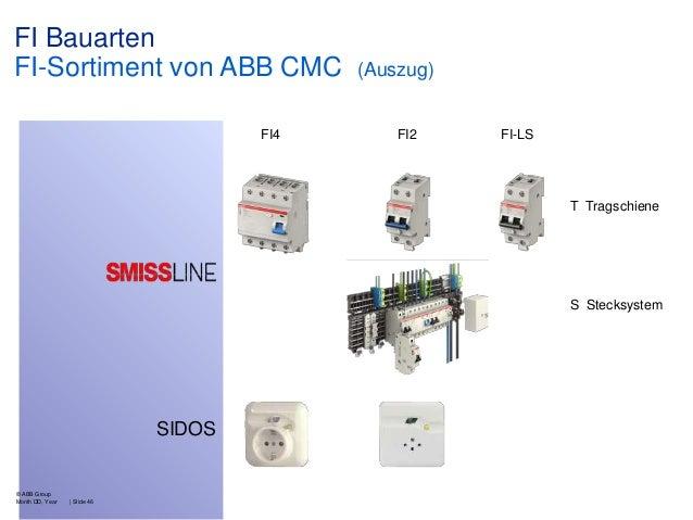 FI Bauarten FI-Sortiment von ABB CMC FI4  (Auszug)  FI2  FI-LS  T Tragschiene  S Stecksystem  SIDOS  © ABB Group Month DD,...