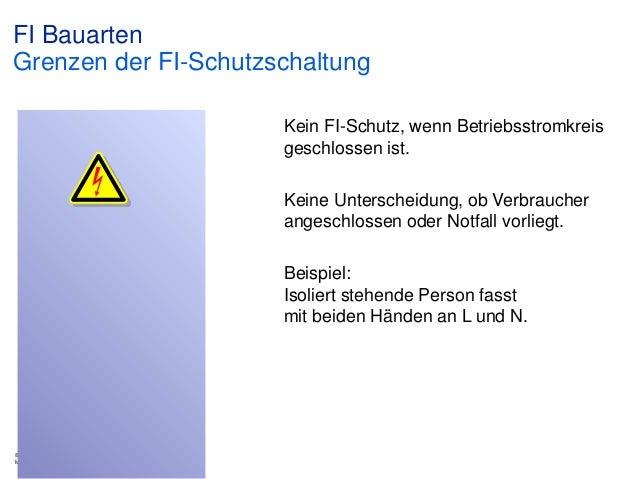 FI Bauarten Grenzen der FI-Schutzschaltung Kein FI-Schutz, wenn Betriebsstromkreis geschlossen ist. Keine Unterscheidung, ...