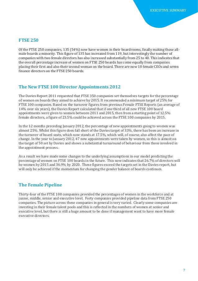 The Female Ftse Board Report 2012 - Milestone Or Millstone?
