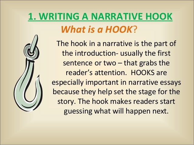 narrative hook essay Parts of an essay — traditionally, it has been taught that a formal essay consists of three parts: the introductory paragraph or introduction, the body paragraphs, and the once the starting point and ending point are determined, it will be much easier to connect these points with the narrative of the opening paragraph.