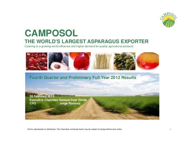 CAMPOSOLTHE WORLD'S LARGEST ASPARAGUS EXPORTERCatering to a growing world affluence and higher demand for quality agricult...